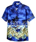 Pacific Legend Motorcycle Navy Cotton Boys Junior Hawaiian Shirt