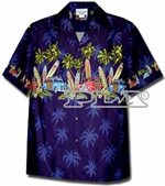 Pacific Legend Surfboard Navy Cotton Boys Junior Hawaiian Shirt