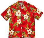 Two Palms Leilani Red Rayon Boys Hawaiian Shirt
