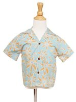 Two Palms Tiare Teal Cotton Boys Hawaiian Shirt