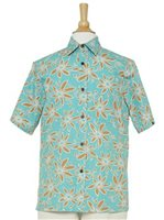 Two Palms Tiare Teal Cotton Men's Hawaiian Shirt
