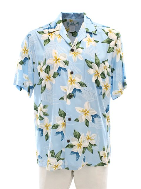 a34fc6e6ca Plumeria Light Blue Rayon Men's Hawaiian Shirt