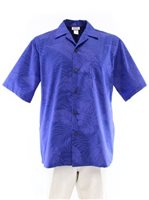 Good Times Monstera Royal Poly Cotton Men's Open Collar Hawaiian Shirt