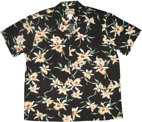 3939178cf3a85 Paradise Found Star Orchid Black Rayon Men s Hawaiian Shirt ...