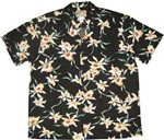 Paradise Found Star Orchid Black Rayon Men's Hawaiian Shirt