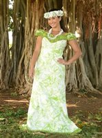 Princess Kaiulani Kukui Leaf Ivory & Lime Poly Cotton Hawaiian Frill Sleeve Long Dress