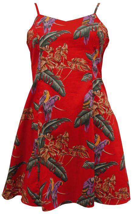 b90e1e74 Paradise Found Jungle Bird Red Rayon Hawaiian Slip Short Dress | AlohaOutlet