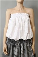 Good Times Hawaiian flower White Poly Cotton Tube Top Bustier