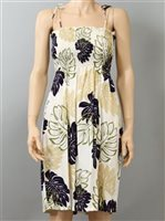Pacific Legend Monstera Cream Rayon Hawaiian Tube Midi Dress