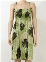 Pacific Legend Monstera Green Rayon Hawaiian Tube Midi Dress