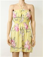 Paradise Found Orchid Corsage Yellow Rayon Hawaiian Strapless Short Sundress