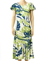 Two Palms Leaf Art Blue Rayon Hawaiian Short Sleeve Long Dress