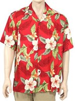 Two Palms Leilani Red Rayon Men's Hawaiian Shirt