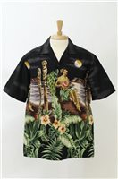 Winnie Fashion Tropical Paradise Black Cotton Men's Hawaiian Shirt