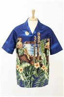 Winnie Fashion Tropical Paradise Navy Cotton Men's Hawaiian Shirt