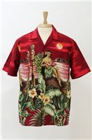 Winnie Fashion Tropical Paradise Red Cotton Men's Hawaiian Shirt
