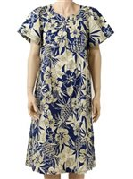Two Palms Pineapple Garden Navy Cotton Hawaiian Midi Muumuu Dress
