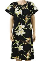 Two Palms Orchid Black Cotton Hawaiian Midi Muumuu Dress