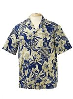 Two Palms Pineapple Garden Navy Cotton Men's Hawaiian Shirt