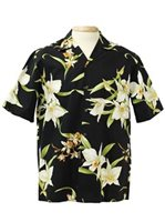 Two Palms Orchid Black Cotton Men's Hawaiian Shirt