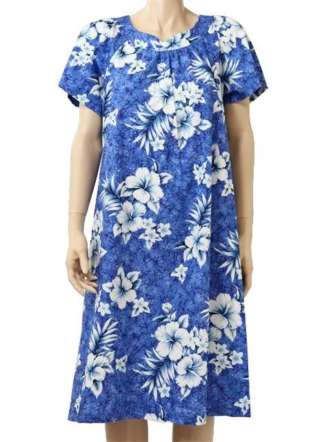 f6f8f5333c25 Two Palms Crack Hibiscus Blue Cotton Hawaiian Midi Muumuu Dress ...