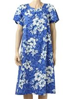 Two Palms Crack Hibiscus Blue Cotton Hawaiian Midi Muumuu Dress