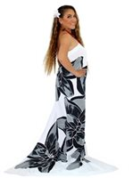 Pareo Island Orchid Black on White Premium Hand Printed Pareo Sarong