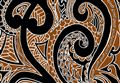 Pareo Island Maori Tattoo Black & Brown Premium Hand Printed Pareo Sarong