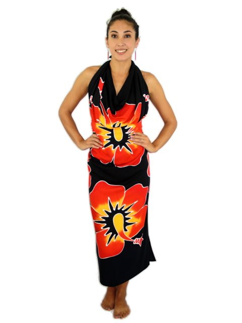 16e4e3a9916f2 Pareo Island New Hibiscus Red on Black Premium Hand Printed Pareo ...