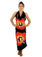 Pareo Island New Hibiscus Red on Black Premium Hand Printed Pareo Sarong[60% OFF]