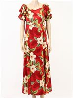 Two Palms Leilani Red Rayon Hawaiian Long Muumuu Dress