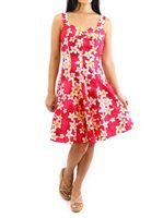 Royal Hawaiian Creations Plumeria Pink Cotton Hawaiian Mini Sundress [40% OFF]
