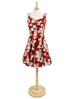Royal Hawaiian Creations Plumeria Red Cotton Hawaiian Mini Sundress
