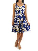 Royal Hawaiian Creations Plumeria Blue Cotton Hawaiian Mini Sundress [40% OFF]
