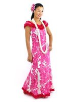 Royal Hawaiian Creations Hibiscus Panel Pink Poly Cotton Hawaiian Nahenahe Ruffle Long Muumuu Dress