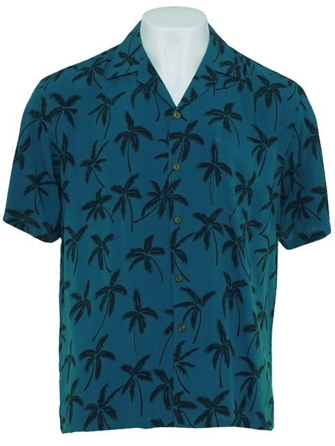 5aa853fab9 Palm Tree Blue Rayon Men's Hawaiian Shirt