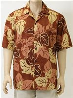 Good Times Kukui Brown Poly Cotton Men's Open Collar Hawaiian Shirt