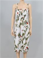 Two Palms Hawaiian Orchid White Rayon Hawaiian Summer Midi Dress