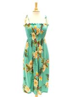 Two Palms Ceres Green Rayon Hawaiian Summer Midi Dress