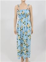 Two Palms Plumeria Light Blue Rayon Hawaiian Summer Maxi Dress