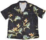Paradise Found Bamboo Paradise Black Rayon Women's Hawaiian Shirt