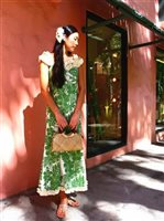 Royal Hawaiian Creations Hibiscus Panel Green Poly Cotton Hawaiian Nahenahe Ruffle Long Muumuu Dress