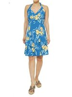 Two Palms Orchid Fern Blue Rayon Hawaiian Halter Neck Short Dress