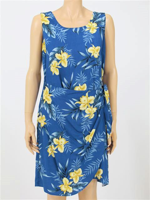 Orchid Fern Blue Rayon Hawaiian Sarong Short Dress