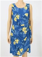 Two Palms Orchid Fern Blue Rayon Hawaiian Sarong Short Dress