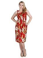 Two Palms Leilani Red Rayon Hawaiian Summer Midi Dress