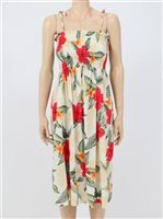 Two Palms Leilani Cream Rayon Hawaiian Summer Midi Dress
