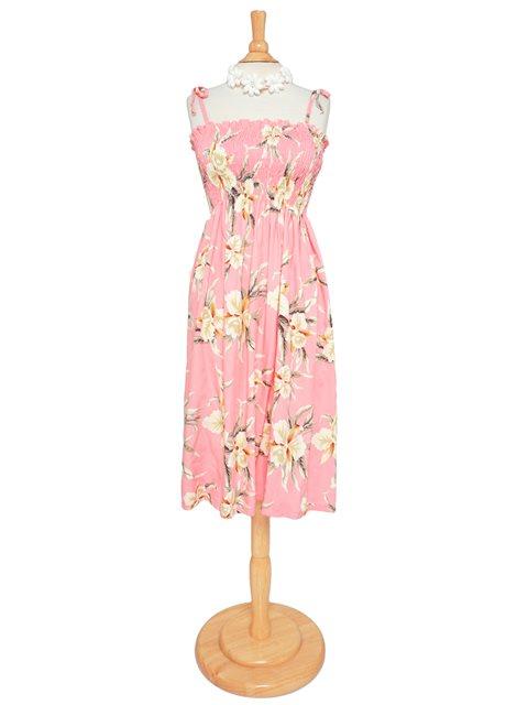 2275142df825 Two Palms Retro Orchid Pink Rayon Hawaiian Summer Midi Dress ...
