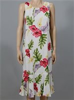 Two Palms Monstera Cream Rayon Hawaiian Midi Dress