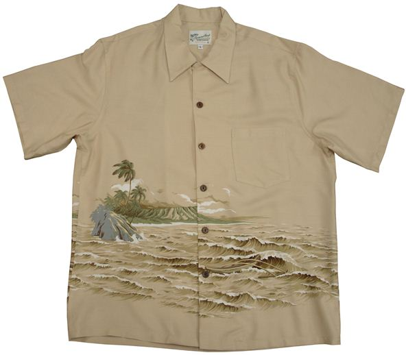 39425ce59 Diamond Head Kaimana Surf Tan Rayon Men's Hawaiian Shirt | AlohaOutlet